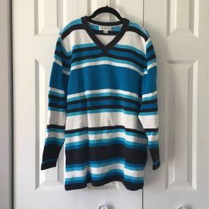 Blue, White, and Black Striped Sweater